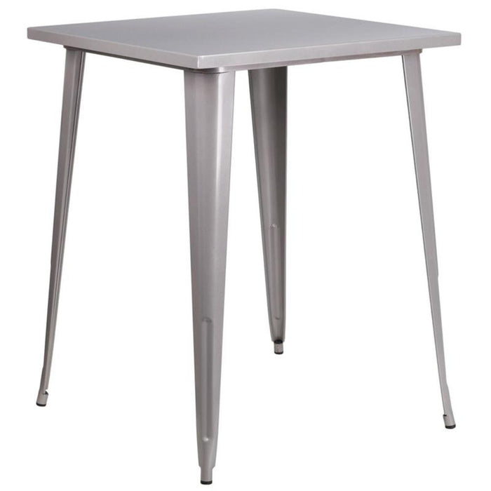 31.5'' Square Silver Metal Indoor-outdoor Bar Height Table - My Parlor Room