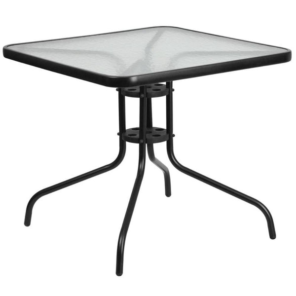 FF - 31.5'' Square Tempered Glass Metal Table - My Parlor Room