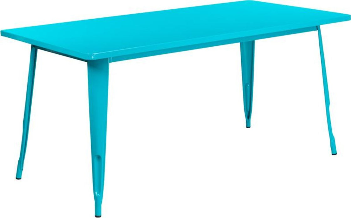 31.5'' X 63'' Rectangular Crystal Teal-blue Metal Indoor-outdoor Table - My Parlor Room