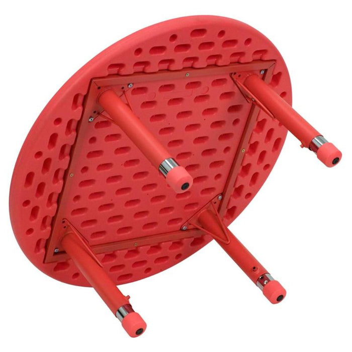33'' Round Red Plastic Height Adjustable Activity Table Set With 4 Chairs