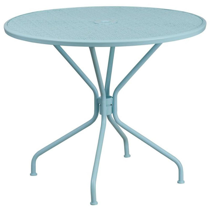 35.25'' Round Sky Blue Indoor-outdoor Steel Patio Table - My Parlor Room