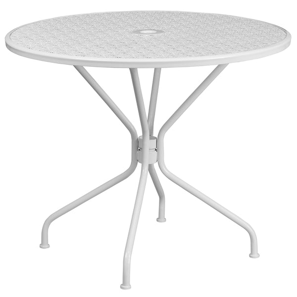 FF - 35.25'' Round White Indoor-outdoor Steel Patio Table - My Parlor Room