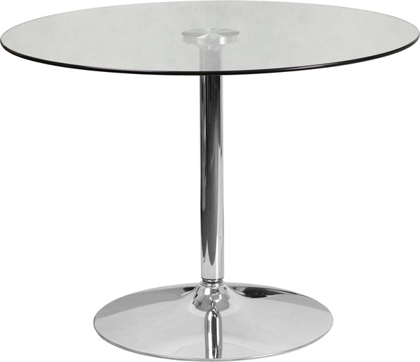 FF - 23.75'' Square Glass Table With 30''h Chrome Base - My Parlor Room