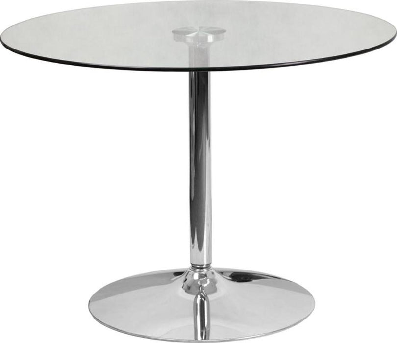 39.25'' Round Glass Table With 29''h Chrome Base - My Parlor Room