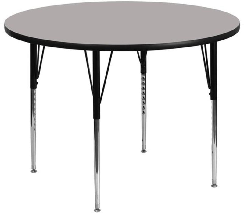 42'' Round Grey Hp Laminate Activity Table - Standard Height Adjustable Legs