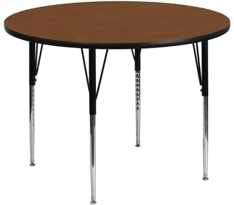 42'' Round Oak Hp Laminate Activity Table - Standard Height Adjustable Legs - My Parlor Room