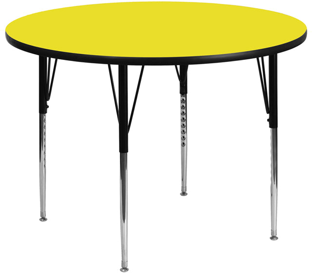 42'' Round Yellow Hp Laminate Activity Table - Standard Height Adjustable Legs