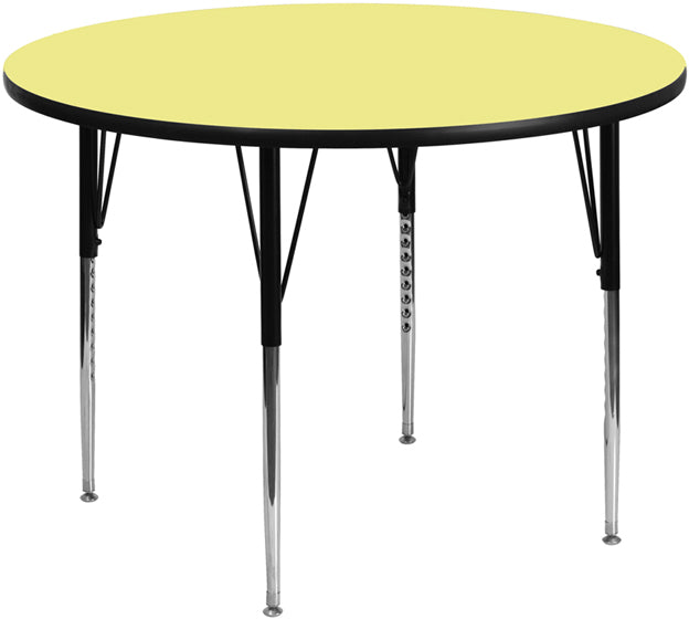 42'' Round Yellow Thermal Laminate Activity Table - Adjustable Legs