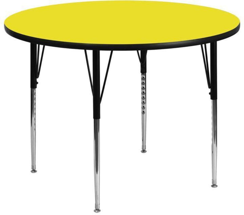 48'' Round Yellow Hp Laminate Activity Table - Standard Height Adjustable Legs - My Parlor Room