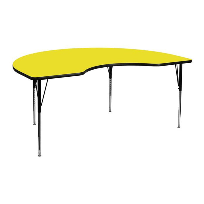 48''w X 72''l Kidney Yellow Hp Laminate Activity Table - Adjustable Legs