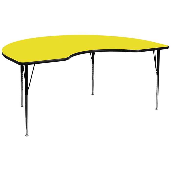 48''w X 96''l Kidney Yellow Hp Laminate Activity Table -Adjustable Legs - My Parlor Room
