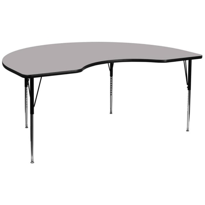 48''w X 96''l Kidney Grey Thermal Laminate Activity Table - Adjustable Legs