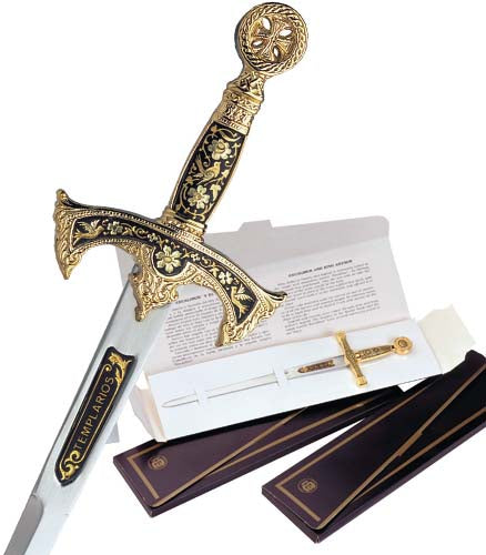 Miniature Damascene Templar Knight Sword Letter Opener by Marto of Toledo Spain - My Parlor Room