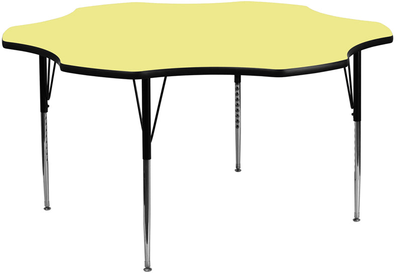 60'' Flower Yellow Thermal Laminate Activity Table -Adjustable Legs - My Parlor Room