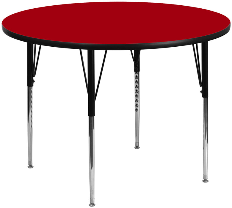 60'' Round Red Thermal Laminate Activity Table -Adjustable Legs - My Parlor Room