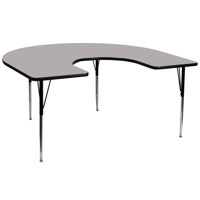 60''w X 66''l Horseshoe Grey Thermal Laminate Activity Table -Adjustable Legs