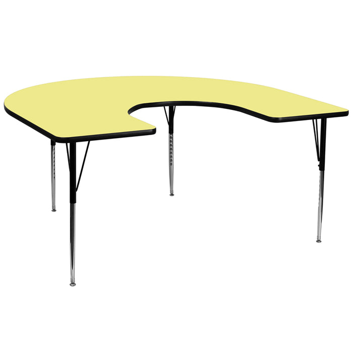 60''w X 66''l Horseshoe Yellow Thermal Laminate Activity Table -Adjustable Legs - My Parlor Room