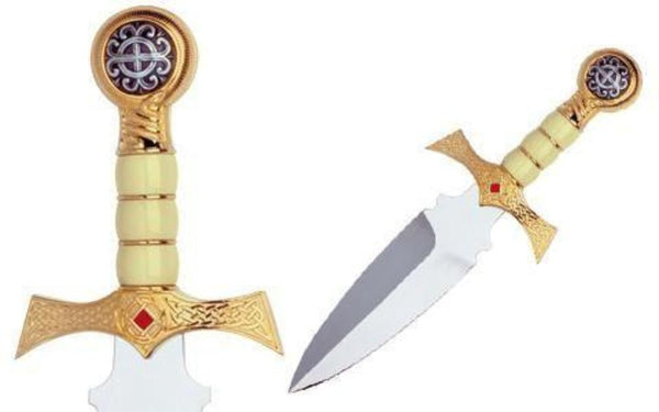Swords from Spain - Claymore Highlander Dagger Gold by Marto of Toledo Spain - My Parlor Room