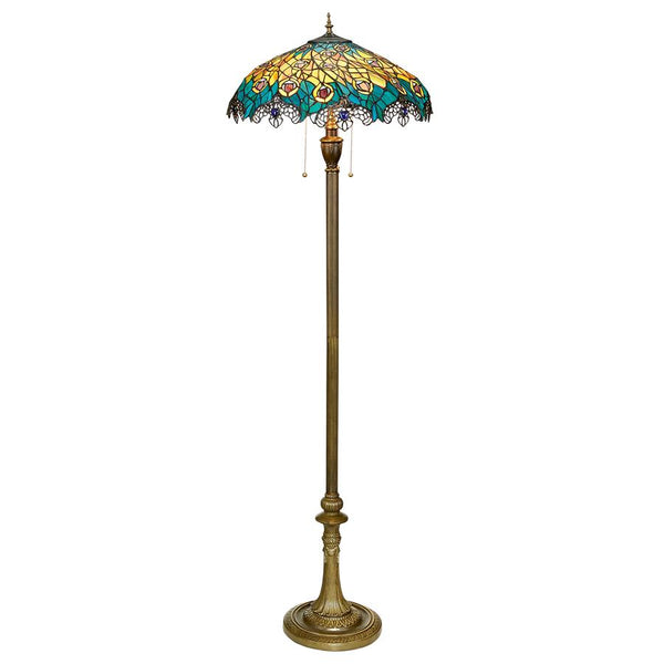 Toscano - Art Nouveau Peacock Tiffany Style Stained Glass Floor Lamp - My Parlor Room