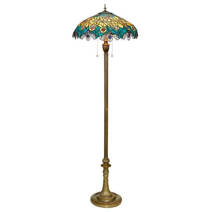 Art Nouveau Peacock Tiffany Style Stained Glass Floor Lamp