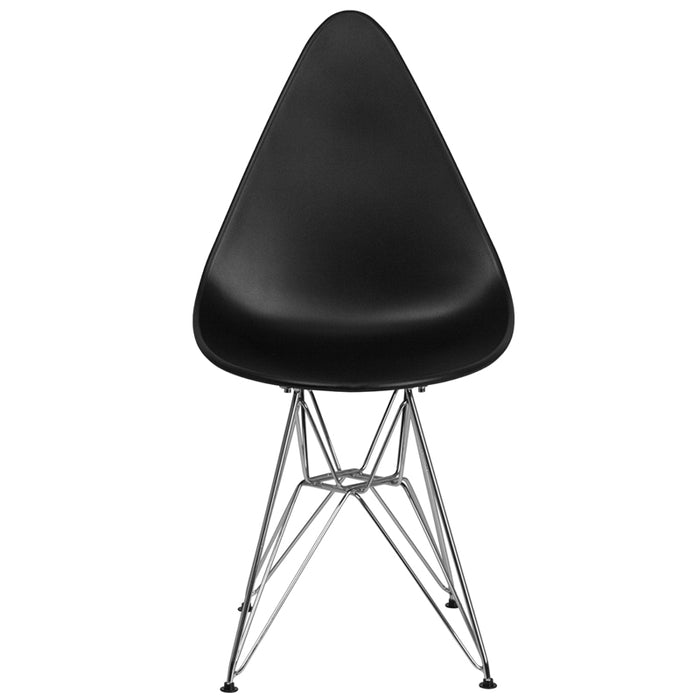 ALLEGRA SERIES TEARDROP BLACK CHAIR WITH CHROME BASE