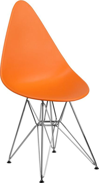 ALLEGRA SERIES TEARDROP ORANGE CHAIR WITH CHROME BASE - My Parlor Room
