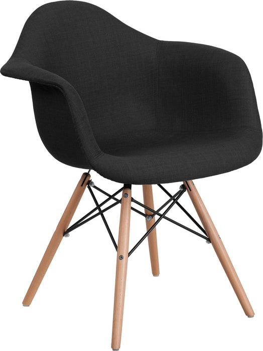 ALONZA SERIES GENOA BLACK FABRIC CHAIR WITH WOOD BASE - My Parlor Room