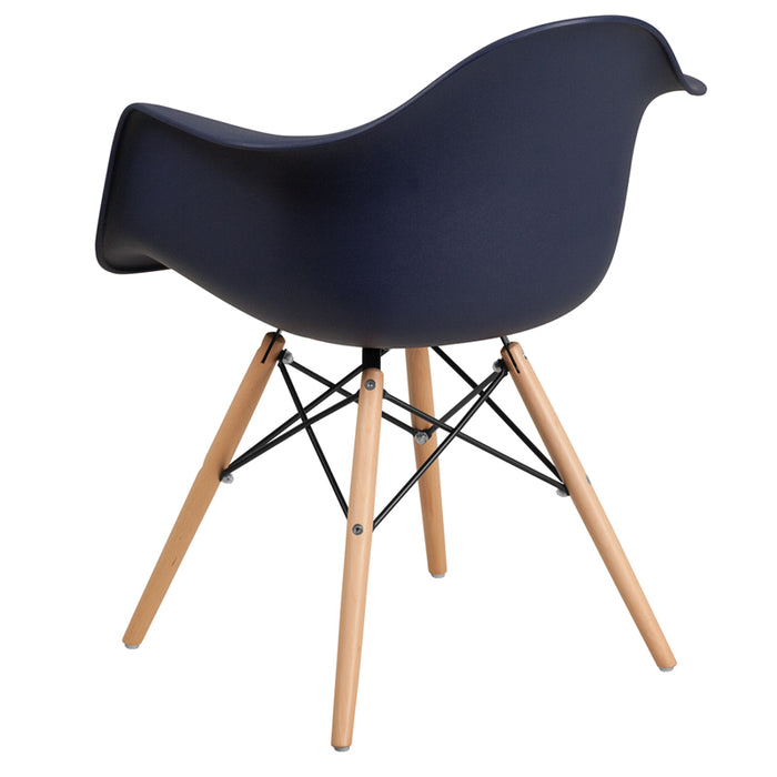 ALONZA SERIES NAVY CHAIR WITH WOOD BASE
