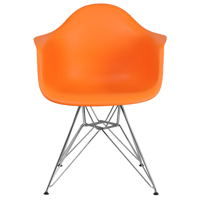 ALONZA SERIES ORANGE CHAIR WITH CHROME BASE