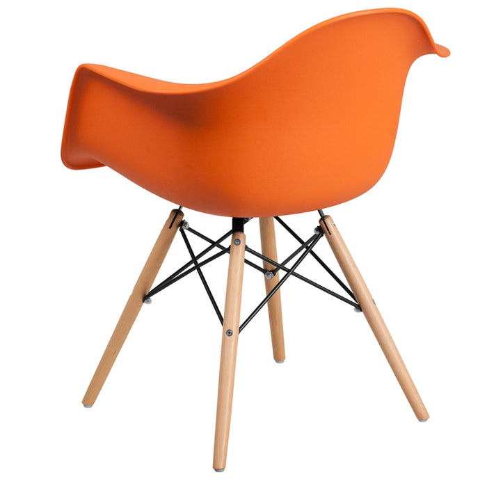 ALONZA SERIES ORANGE PLASTIC CHAIR WITH WOOD BASE - My Parlor Room