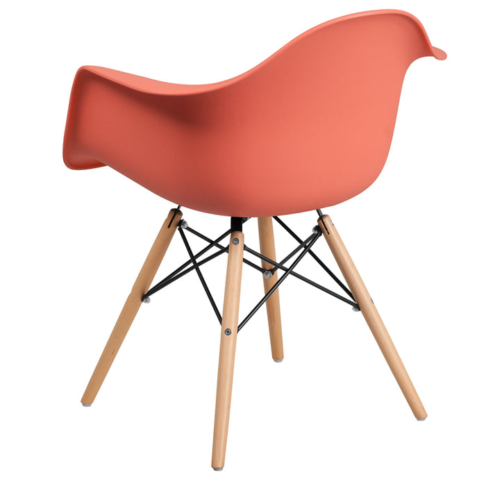 ALONZA SERIES PEACH  CHAIR WITH WOOD BASE