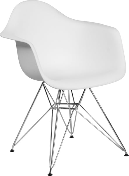 Flash Furniture - ALONZA SERIES WHITE CHAIR WITH CHROME BASE - My Parlor Room