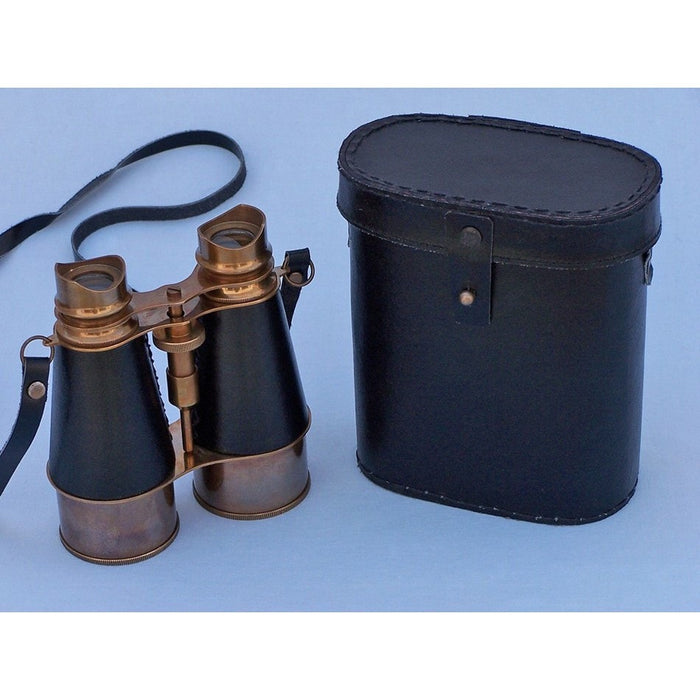 Handcrafted Nautical Decor - Admirals Antique Brass Binoculars and Leather Case 6 inch - My Parlor Room