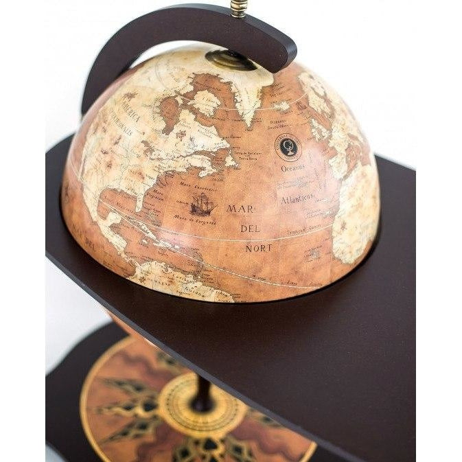"Bar Globes - Zoffoli ""Botticelli"" Coffee Table With Globe Drinks Cabinet - Rust"