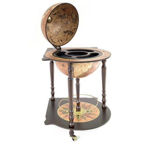 "Bar Globes - Zoffoli ""Caravaggio"" Corner Globe With Drinks Cabinet - Rust"