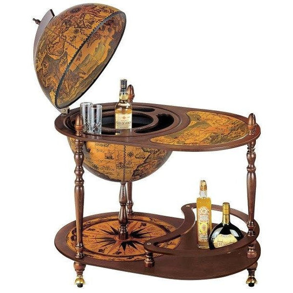 "MPR - ""Cassiopea"" Classic Large Trolley Bar Globe With Serving Tray - My Parlor Room"