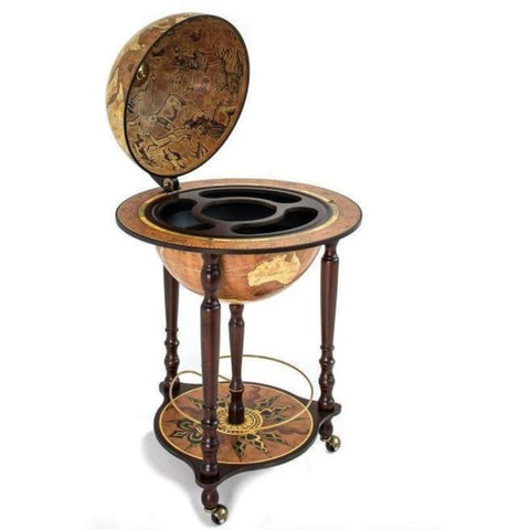 "Bar Globes - Zoffoli ""Da Vinci"" Floorstanding Globe Drinks Cabinet On Wheels - Rust"