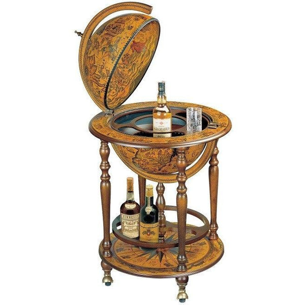 "MPR - ""Orione"" Classic Bar Globe With Wooden Meridian And Bottle Carrier - My Parlor Room"