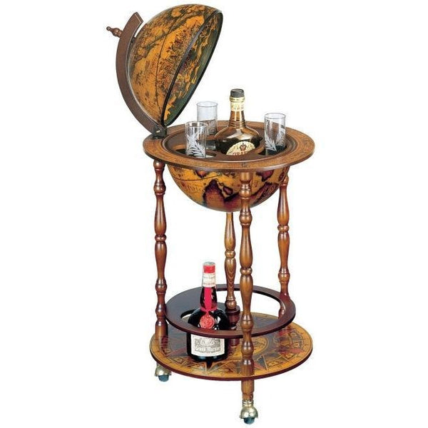 "MPR - ""Ottante"" Classic Small Floor Bar Globe On Wheel - My Parlor Room"