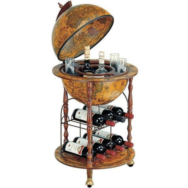 "MPR - ""Pegaso-Cellar"" Classic Small Floor Bar Globe With Metal Wine Rack - My Parlor Room"