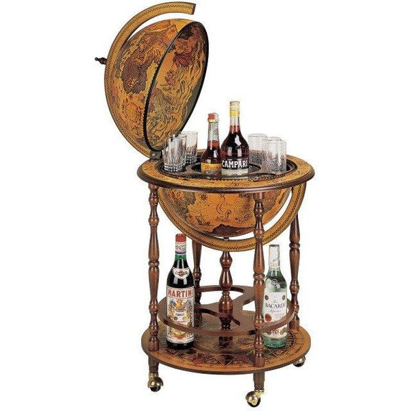 "MPR - ""Regolo"" Classic Bar Globe With Wooden Meridian And Bottle Carrier - My Parlor Room"