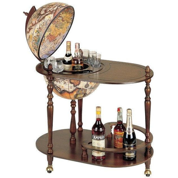 "MPR - ""Vivalto"" Classic Trolley Bar Globe With Serving Tray - My Parlor Room"