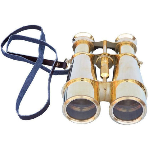 Binoculars - Captain's Solid Brass Binoculars With Leather Case 6 Inch