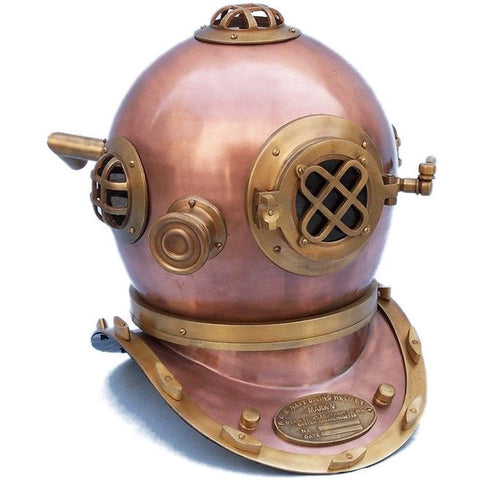 Handcrafted Nautical Decor - Antique Copper Decorative Divers Helmet 19 inches - My Parlor Room