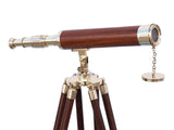 My Parlor Room - Floor Standing Brass/Wood Harbor Master Telescope 50 inch - My Parlor Room