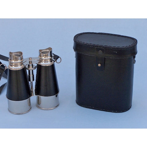 Handcrafted Nautical Decor - Admirals Chrome Binoculars with Leather Case 6 inch - My Parlor Room