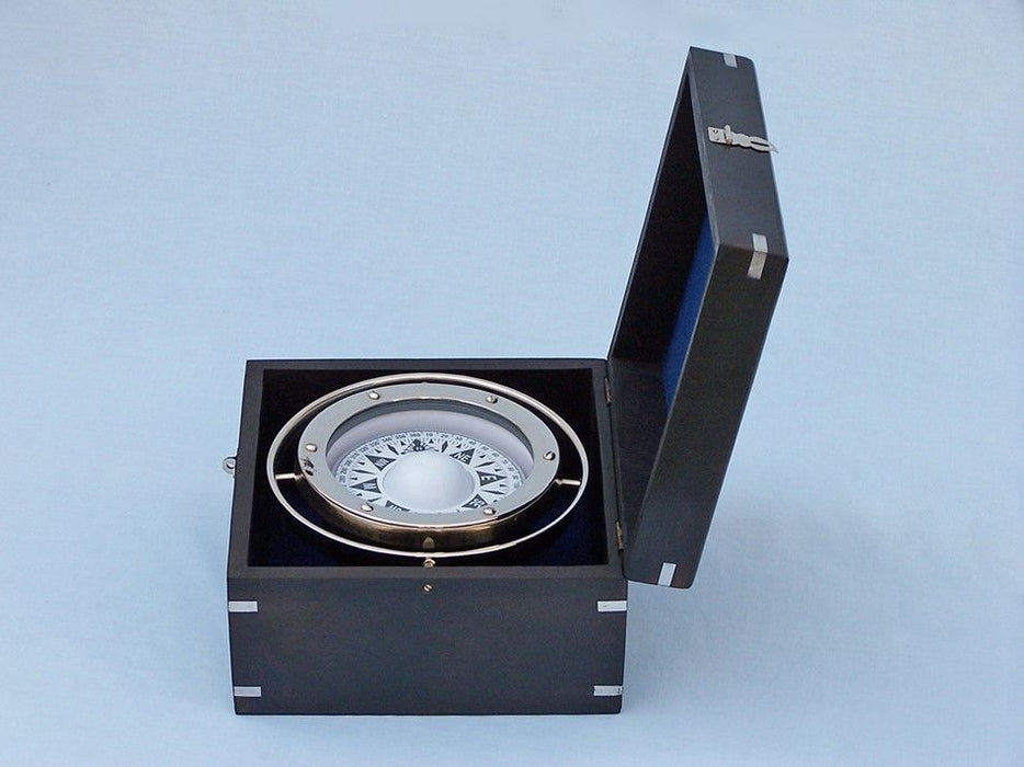 Chrome Gimbal Compass with Black Rosewood Box 9 inches