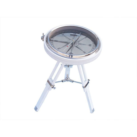 Compass - Decorative Chrome With White Stand Compass Table 23 Inches