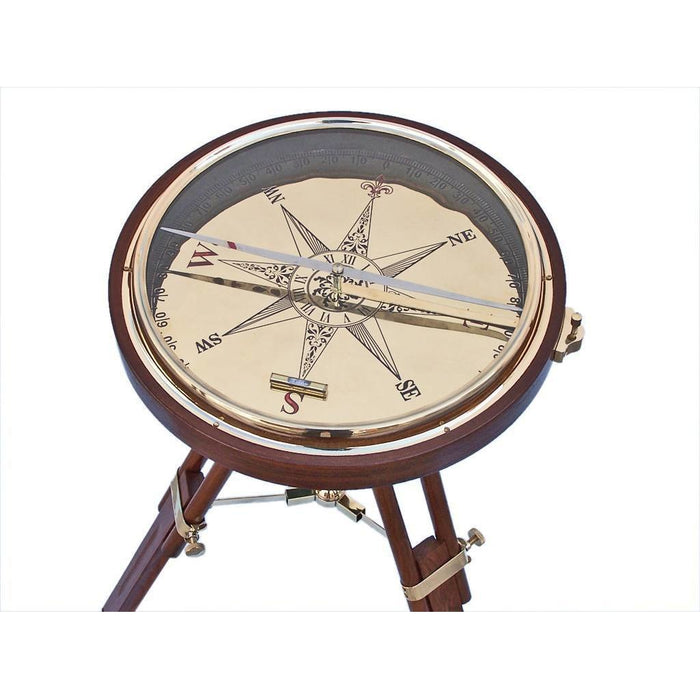 Compass - Decorative Wooden Brass Compass Table 23 Inches