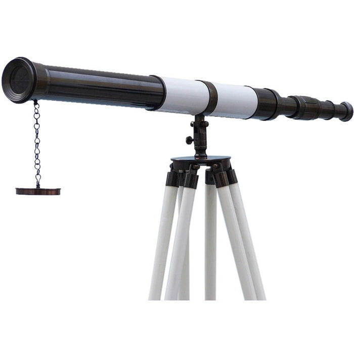 Handcrafted Nautical Decor - Admirals Floor Standing Oil Rubbed Bronze with White Leather Telescope 60 inch - My Parlor Room